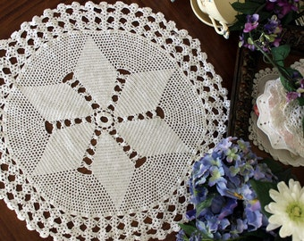 Large Crochet Doily or Centerpiece - Filet Crocheted in White, 21 Inch 13533
