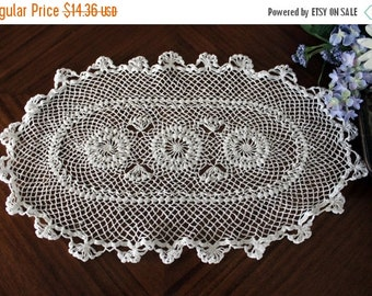 Oval Doily in White, Crochet Centerpiece, Hand Crocheted,  13579