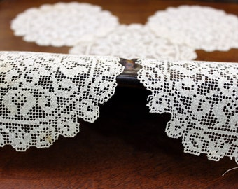 5 Lace Coaster Doilies - Antique Needle Lace in Medium Ecru 11500