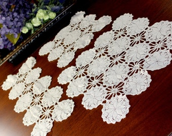 3 Vintage Crochet Doilies - Matching Crocheted Doilies in Medium Ecru 12891