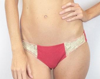 Larkspur - Hazel - Organic Cotton Bikini Panties - Scarlet