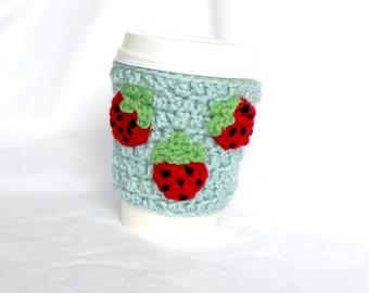 Strawberry Crochet Cup Cozy