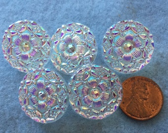 NEW Czech Glass Buttons - Mandala White Silver Translucent with highlights