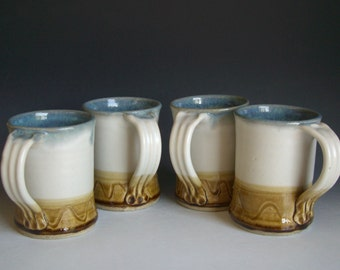 Hand thrown stoneware pottery mugs set of 4  (M-32)