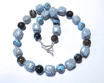 Kazuri Bead Necklace, Fair Trade, Light Blue Grey and Touch of Brown