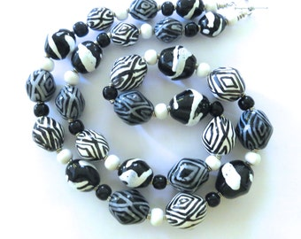 Black and White Kazuri Bead Necklace, Fair Trade Beads, Ceramic Necklace, Statement Necklace