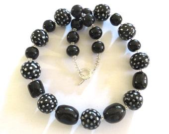 Kazuri Beaded Necklace, Ceramic Necklace,  Fair Trade, Black and White Necklace