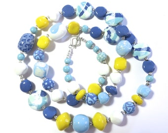Ceramic Necklace, Kazuri Bead Necklace, Statement Necklace, Blue Yellow White and French Blue Necklace