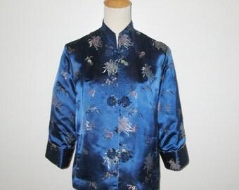 Vintage Cheongsam Jacket / Blue Reversible Asian Style Jacket / Gold Cheongsam Reversible Jacket By Peony Brand Shanghai China - M