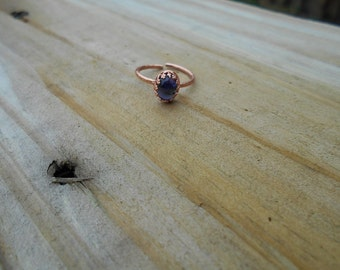 Oval Iolite Cabochon Adjustable Ring