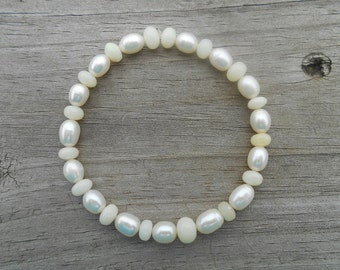 Natural Ethiopian Opal and Rice Pearl Stretch Bracelet