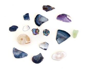 Raw Gemstone Studs/Raw Peridot/Raw Pyrite/Raw Apatite/Black Pearl