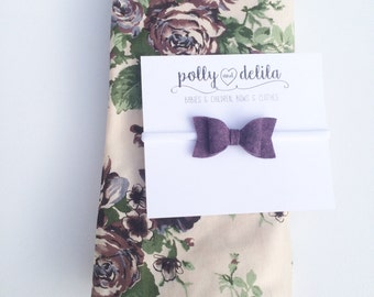 Baby girl swaddle blanket and headband set. ivory floral with a matching felt bow