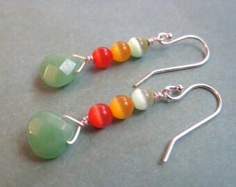 Jade Drop Earrings, Sterling Silver Earrings, Green Stone Earrings, Cats Eye Beads, Orange Earrings, Modern Earrings, Rainbow