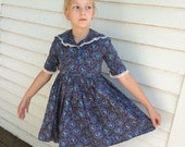 Vintage 30s Girls Dress Depression Era Floral Black Blue Print AS IS