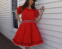 SHOP SALE Red Square Dance Outfit Blouse Skirt Vintage Country Western M Partners Please