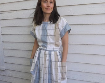 80s Boxy Top and Skirt Set Retro White Cotton Striped Check S