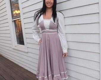 Gunne Sax Prairie Dress Purple Print Cotton Vintage 70s 7 XS