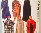 Uncut, Easy McCalls 8936 Sewing Pattern Fashion Basics Woman's Cape in 5 Different Styles, Hooded, Large Scarf