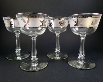 4 Vintage Libbey Frosted Silver Leaf Wine Cocktail Glasses 1968 Stems