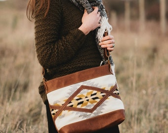 Leather Bag in Pendleton // Crossbody Carry All // Tribal Bohemian