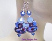 Berry Blues Earrings, Blue & Amethyst Berry Colored Abstract Lampwork Cluster Earrings, Short Dangle Earrings