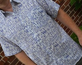 Men's Tribal Hand Block Printed Indian Woven Cotton Short Sleeve Button Down Pocket Shirt - Blue on White - Mhina I911