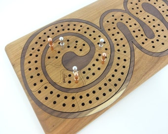 Wood Cribbage Board - Curly Track
