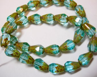 15 Aqua Picasso Czech Glass Faceted Teardrop Beads 8x5mm