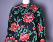 1970s KENZO gothic rose print wool cotton black floral PEASANT blouse top avant garde vintage France S