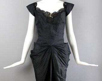 SALE 30% OFF 1950s black silk PHILIP Hulitar Modes gathered bustle dress w/ back fin & lace trim Rare vintage