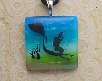 Descending Mermaid Dichroic Glass Necklace DGP 043
