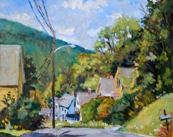 Toward Vermont, North Adams. Original Oil Painting, 10x10 American Impressionist Landscape, City Scene, Signed Original Realist Fine Art