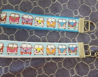 VW Key Fob / Volkswagen Bus KeyChain / VW Bus Wristlet KeyFob / Retro Hippie Bus Key Fob Wristlet / VW Bus Key Fob