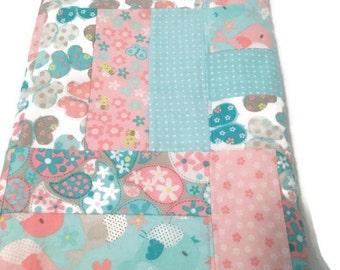 Baby Blanket Flannel Girl Modern baby flannel blanket birds butterflies flowers Aqua pink