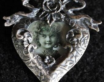 Heart Shaped Photo Frame Brooch