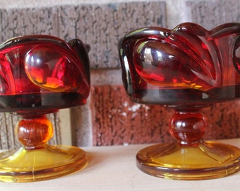 1970's Vintage Amberina Glass Candle Holders