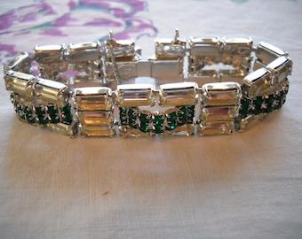 Vintage Hattie Carnegie Bracelet Green & Crystal Rhinestones FREE SHIPPING