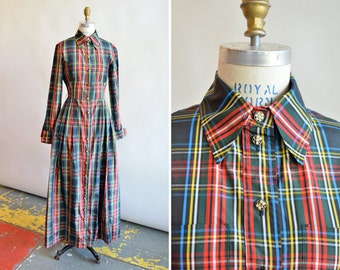 Vintage MOSCHINO couture silk taffeta plaid dress