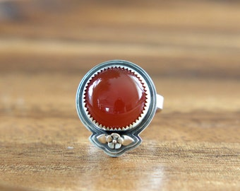 Carnelian Wildflower Ring