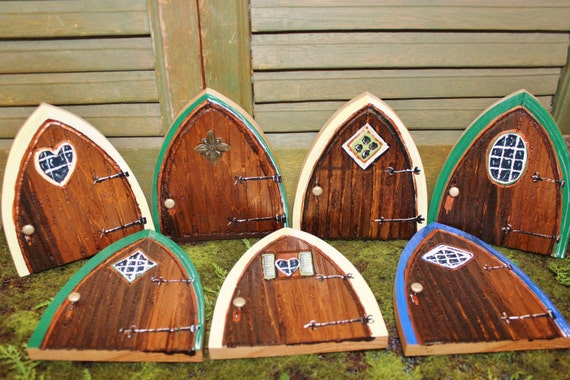 Gnome doors fairy doors hand made hand painted for Painted fairy doors