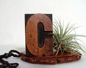 Letterpress C Wood Type Vintage Freestanding Printer Block Letter G or C
