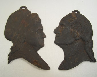 Vintage Cast Iron Profile Wall Plaques George and Martha Washington