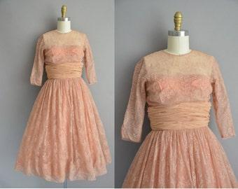 Riffs 50s nutmeg delicate lace vintage party dress / cvintage 1950s dress
