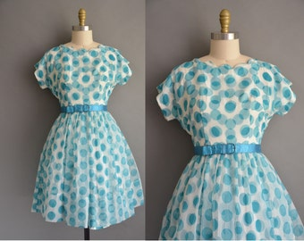 50s polka dot chiffon vintage dress / vintage 1950s dress