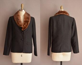 50s black fur collar vintage jacket / vintage 1950s jacket