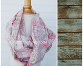 Roses Scarf Infinity Scarf Women's Scarf from Vintage Linens Vintage Pillowcase Vintage Fabric Loop Scarf Retro Scarf  INF15 Pink Scarf
