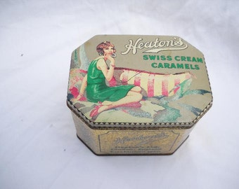 Vintage Heaton's Swiss Cream Caramels Tin, Daher Tin, Made In England Candy Tin