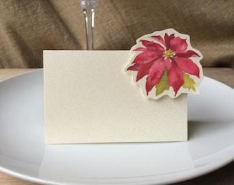 Christmas flower - Place Card - Poinsettia - Escort Card Gift Card - Table Number Card - Menu Card -weddings events