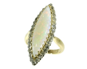 Victorian opal ring navette shaped cabochon cut opal 18k yellow gold antique ring
